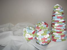 Using a heart-shaped punch, zig-zap scissors, styrofoam balls and styrofoam trees from Michael's in Thunder Bay, as well as Christmas Designer Series Paper from Stampin' Up I made these lovely Christmas decorations.  Punch the hearts (trim with scissors for different effect) and hot glue them up-side-down to the styrofoam forms. Voila!  Not-so-instant decorations for your tree and mantle!  It took an entire weekend to make 2 trees and 6 balls, but it was worth it. :)