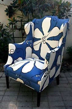 Dusk Poppy Hable Construction fabric on antique arm chair, Chairloom