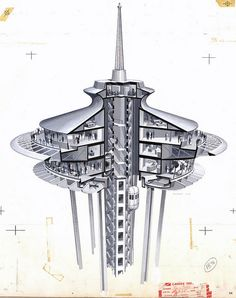 Completed in 1962 in Seattle, United States. The opening of the Century 21 Exposition on April 1962 transformed the image of Seattle and the American Northwest in the eyes of the world. Section Drawing, Foto Poster, Cross Section, Architecture Visualization, Seattle Washington, Washington State, World's Fair, Googie, Retro Futurism