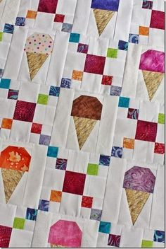 Beginner Class and Ice Cream Cones! Lap Quilts, Scrappy Quilts, Mini Quilts, Quilt Blocks, Quilting Projects, Quilting Designs, Irish Chain Quilt, I Spy Quilt, Baby Quilt Patterns