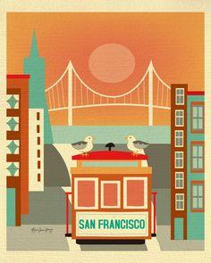 San Francisco, California - Seagulls on Trolley