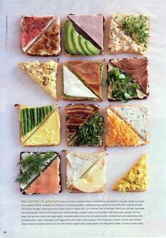 Showcase a lovely display of tea sandwiches at your tea party or baby shower with our selection of tea sandwich recipes. Tea Recipes, Cooking Recipes, Healthy Recipes, Think Food, Love Food, Sandwich Bar, Sandwich Recipes, High Tea Sandwiches, Sandwich Ideas