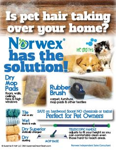 Got pet hair?  Norwex has the solution!  Learn more at www.littlegreencloth.com.