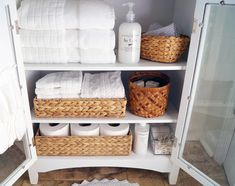 organized linens - changing to all white towels makes the difference