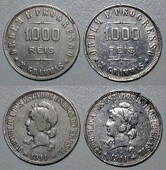 Moeda brasileira de prata de 1000 réis de 1911
