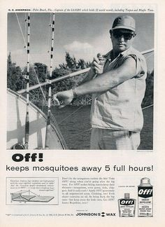 Vintage 1960 Off Bugspray Print Advertisement  Johnsons Wax