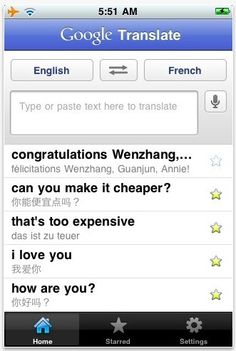 Google Translate.  This might be one of the mos useful apps those not adept in languages.  It can translate words and phrases into 57 different languages using voice recognitions software.  Speak (or type) the phrase and the translation will appear on the screen, or depending on the language, on audio playback.