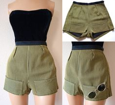 Perfect 1950s Vintage High Waist Pin Up Shorts - Yellow Black - Excellent Condition. $79.00 USD, via Etsy.