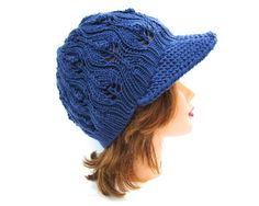 Blue Newsboy Cap - Lace Knit Hat - Brimmed Beanie - Women's Hat with Brim - Visor Hat - Knit Accessories by BettyMarieJones on Etsy