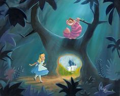 Alice in Wonderland - Door to the Royal Garden - Original by Rob Kaz presented by World Wide Art Disney Kunst, Arte Disney, Disney Magic, Thriller Album, Disney Fine Art, Chesire Cat, Michael Jackson Thriller, Disney Artists, Royal Garden