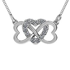 This design changes the traditional infinity symbol to display 2 hearts on the sides, interlocked with a third shiny heart in the center, set with twelve stunning 2mm round gemstones. It represents unconditional love that will last forever. Have this item custom made with genuine or simulated birthstones or your favorite Swarovski Zirconia stone. Metal options range from sterling silver or 10K and 14K white and yellow gold.