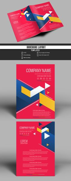 Brochure Cover Layout with Red and Blue Accents - image | Adobe Stock #Brochure #Business #Proposal #Booklet #flyer #template Design layout | Brochure template | Brochure design template | Flyers | Template | Brochures | Flyer Background | Background design | Business Proposal | Proposal Design | Booklet | Professional | Professional - Proposal - Brochure - Template