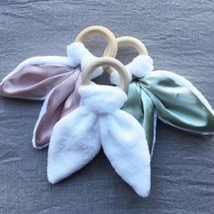 Bunny Ears Teether by Tiger Lily Tots.untreated hardwood ring with fleece and satin removable fabric component allows your littlie to self soothe well easing aching gums Wood Rings, Ears, Hardwood, Bunny, How To Remove, Lily, Satin, Shop, Fabric