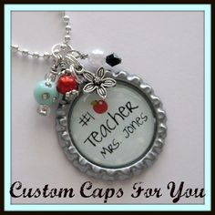PERSONALIZED Teacher With Apple  Bottle Cap Pendant Necklace With Matching Beads And Charm on Etsy, $10.95