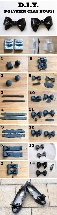 Bit Square: DIY Polymer Clay Bows (ps. this is cute, but don't do the nail polish step!  it'll eat away the clay)