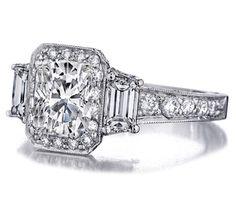 Cushion Cut Diamond Engagement Ring Trapezoids sides graduated pave band - ES909CUWG