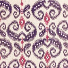 Prints Indo Ikat - Magenta and Purple on Linen 5598 in Magenta and Purple