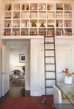 Book loft. Library ladder. Neat. Would be awesome in a kitchen for cookbooks.