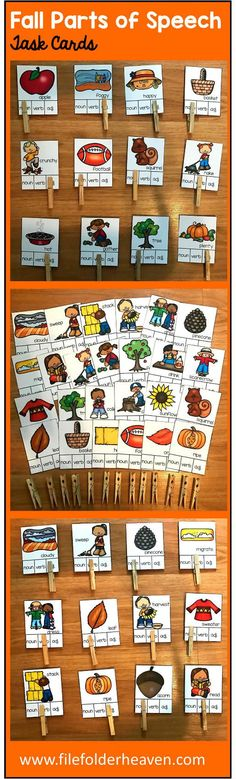 These Fall Parts of Speech Task Cards focus on identifying parts of speech: nouns, verbs, and adjectives, using fall themed vocabulary words. There a total of 34 task cards included. Students will look at each fall themed picture and word, and determine whether it is a noun, verb, or adjective.