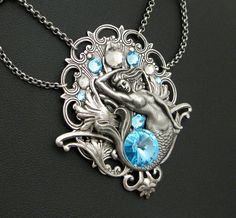 Aquatic Mist - Aquamarine Swarovski and Silver Mermaid Necklace