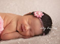 Newborn Headband-Pink Headband-Baby Headband-Flower Headband-infant-preemie-toddler-child-Baptism Headband-Flower Girl Headband-Baby Bows