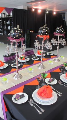 Halloween decor table-scape painted pumpkins