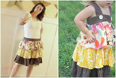 Momma skirt and matching daughter dress. Too cute!