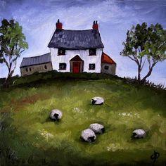 J Palmer Original oil painti. J Palmer Original oil painting Landscape Art by janell Landscape Art, Landscape Paintings, Cottage Art, Welsh Cottage, Sheep Paintings, Primitive Painting, Sheep Art, Naive Art, Pictures To Paint