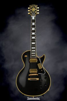 Solidbody Electric Guitar with Mahogany Body, Carved Maple Top, Mahogany Neck, Richlite Fingerboard, and 2 Humbucking Pickups - Ebony Bass Ukulele, Prs Guitar, Acoustic Guitar, Unique Guitars, Custom Guitars, Vintage Guitars, Les Paul Custom, Gibson Les Paul, Les Paul Black Beauty