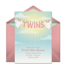 Adorable, hand-illustrated free twin baby shower invitation. Love this design for a baby shower when mom-to-be is expecting twin girls! #handmade