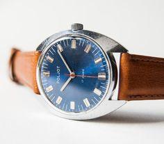 Mens wristwatch Poljot vintage watch blue silver by SovietEra, $61.00. irmsky do you see this? :))