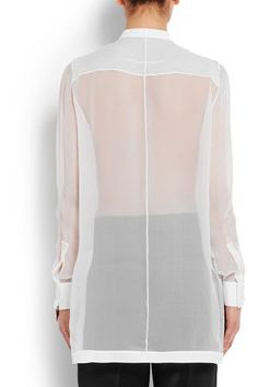 Givenchy - Shirt In White Silk-georgette And Cotton-poplin - FR36