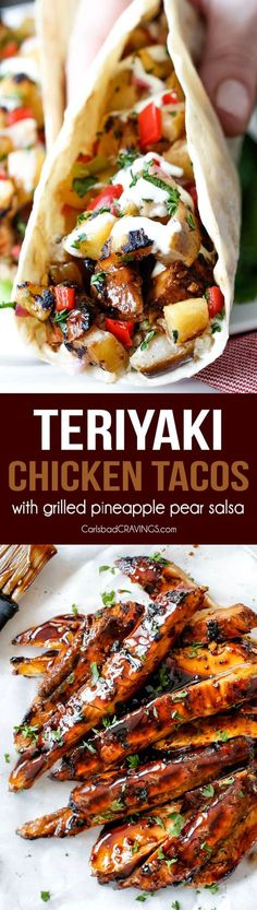 Teriyaki Chicken Tacos smothered with the BEST easy teriyaki sauce and piled with Grilled Pineapple Pear Salsa will be your new favorite taco! Company worthy but everyday easy! via @Carlsbad Cravings