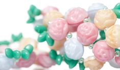 Project Rosarium - tutorial on Sewn bracelet made with PRECIOSA Candy Rose, Pressed Beads, Traditional Czech Beads Flat Nose, Bracelet Making, Delicate, Candy, Chain, Beads, Rose, Bracelets, Projects