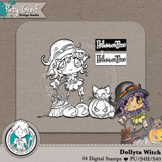 """Dollytas Collection """"Dolyta Witch"""" Exclusive Designs by Paty Greif. Pack with 4 digi stamps"""