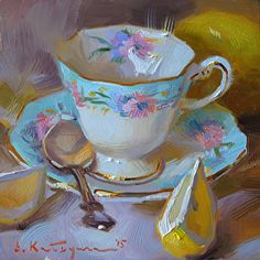 Light Blue and Yellow by Elena Katsyura Oil ~ 6 x 6