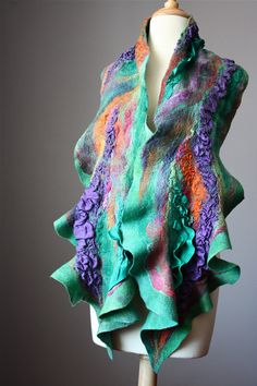 Nuno Felted scarf  Wool  silk  collage  ruffled by VitalTemptation, $155.00