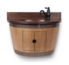 "Premier Copper Products WBVW_SF100 30"" Wall Mounted Wine Barrel Vanity Set Inclu Natural Fixture Vanity Single"