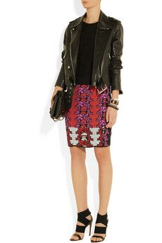 Acne jacket, Rochas top, M Missoni skirt, Alaïa shoes, and Bottega Veneta bag