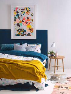 blue bedroom decor wall painting boho bedroom for kid funny bedroom nighslee memory foam mattress size mattress shopping Blue Bedroom Decor, Bedroom Paint Colors, Home Bedroom, Design Bedroom, Bright Bedroom Ideas, Playroom Colors, Bedroom Retreat, Mustard Bedroom, Home And Deco