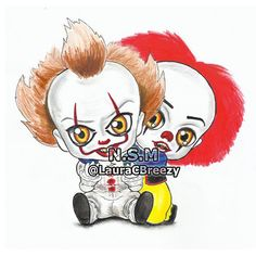 So cute but so creepy Pennywise 1990, Pennywise The Dancing Clown, Horror Movie Characters, Horror Movies, Arte Horror, Horror Art, Pennywise Tattoo, Horror Cartoon, Arte Do Kawaii