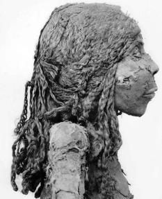 mummy with wig. Mummies and mummy hair from ancient Egypt.
