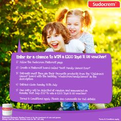 "To enter, users must follow these instructions: 1. Follow the Sudocrem Pinterest page 2. Create a Pinterest board called ""Best Family Games Ever!"" 3. Entrants must then pin their favourite games from the ""Family Games"" board with the hashtag ""#SudocremFamilyGames"" in the description 4. Entries close Sunday 30th July One entry will be selected at random and announced Monday 31st July 2017 to win a £100 Toys R Us voucher. Click visit to see the competition terms & conditions."