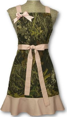 I need this. Yes Indeed. Mossy Oak Pink Camo Apron Womens Bling Bow by CamoChiqueBoutique, $49.99