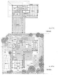 都心部の住宅街に建てる小さな家の計画。   すでに子どもは成人している団塊世代のご夫婦の終の棲家として計画。 寝室と水廻りを2階に集約し、家族室だ... Craftsman Floor Plans, House Floor Plans, House Wall, House Rooms, Traditional Japanese House, Sims 4 Build, Plan Design, Model Homes, Layout