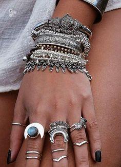 silver boho jewelry.