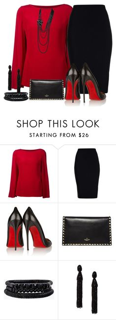 """""""Red and Black"""" by terry-tlc ❤ liked on Polyvore featuring Ralph Lauren Black Label, Roland Mouret, Christian Louboutin, Valentino, Spring Street, Oscar de la Renta and Chanel"""