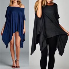 The TANNER asym tunic top - NAVY/H. GREY Loose fit, round neck, asymmetrical hemmed poncho-style tunic with slit armholes. Fabric: 95% Rayon, 5% Polyester. AVAILABLE in NAVY, STRIPED, CHARCOAL, H. GREY IVORY & OLIVE. Made In: U.S.A, FITS FROM SMALL - XL ‼️️NO TRADE‼️ Bellanblue Tops Tunics