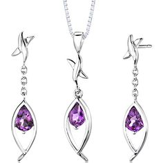 Amethyst Pendant Earrings Necklace Sterling Silver Rhodium Nickel Finish Pear Cut 175 Carats * Read more by visiting the link on the image.