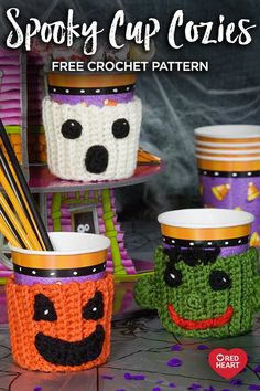 You would love making these Halloween Cup Cozy, Mug Cozy, Jar Cozy, Bottle Cozy. Check out these Free Crochet Patterns consisting many Halloween characters. Crochet Coffee Cozy, Crochet Cozy, Crochet Gratis, Crochet Fall, Free Crochet, Thanksgiving Crochet, Halloween Cups, Halloween Crafts, Halloween Candy